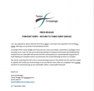 Torpoint Ferry Update